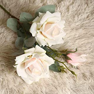 Leegor DIY Silk Flannel Roses Bouquet Artificial Flowers Home Wedding Decoration for Bridal Wedding Bouquet,Birthday Bunch Hotel Party Garden Floral Decor (Apricot)