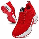 GURGER Cuña Zapatillas Mujer Wedge Zapatillas de Deporte Plataforma Sneakers Cuña Tacón Oculto 7CM Rojo 37 EU