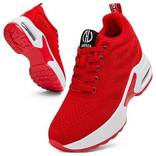 GURGER Cuña Zapatillas Mujer Wedge Zapatillas de Deporte Plataforma Sneakers Cuña Tacón Oculto 7CM Rojo 35 EU