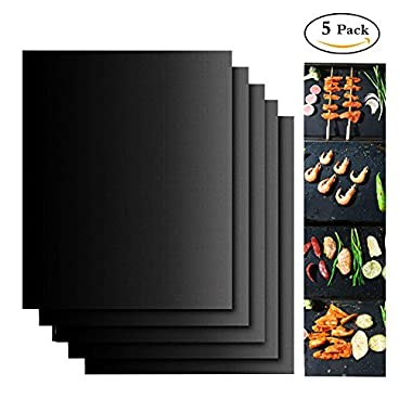 Grill Mat Set,100% Non-stick BBQ grill & Baking Mats - FDA-Approved, PFOA Free, Reusable and Easy to Clean-Works on Gas, Charcoal, Electric Grill and More - 15.75 x 13 Inch (5 pack)