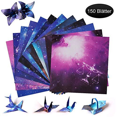 Origami Papier, Farben Faltpapier 150 Blatt für Origami DIY Kunst und Bastelprojekte, Doppelseitig Konstellation Nachthimmel Origami Papier Sternschnuppen der Sterne(15 x 15 cm)