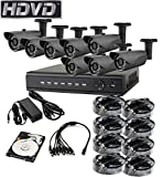 HDVD HVD-P-T87B4 HD-TVI CCTV 8CH DVR with 8 Camera Package Full HD 1080P HDMI Output Night Vision IR Indoor/Outdoor Bullet Pipe Camera 1TB HDD Installed