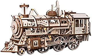 Robotime DIY Clockwork Gear Drive Locomotive 3D Wooden Model Building Kits Toys Hobbies Gift for Children
