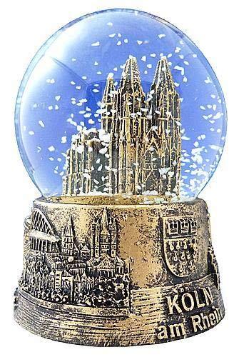 Dresden-Onlineshop Schneekugel Schüttelkugel Kölner Dom Gold mittel 6,5 cm Sockel mit Stadtwappen, Rhein und Sehenswürdigkeiten
