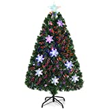 Goplus 4FT Pre-Lit Fiber Optic Artificial Christmas Tree, with Multicolor Led Lights and Snowflakes (4FT)