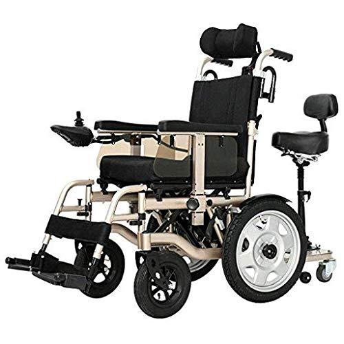 QJL_ANA Elektrische Rollstühle Hochleistungs-Fahrzeug ist Fahr Faltbare Rollstuhl Dual-Motor Sitzbreite 45 cm 360 ° Joystick