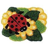 YYLPLLE Kits De Crochet De Verrouillage Bricolage pour Adulte, Tapis De Sol Tapis De Broderie Kit Couverture Artisanat Au Crochet, pour Enfants Chambre Décor Coccinelle 52 * 38 Cm