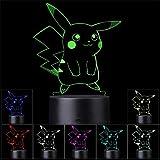 Lámpara de ilusión 3D LED luz nocturna Pikachu USB alimentado 16 colores intermitente interruptor táctil dormitorio decoración iluminación para niños regalo de Navidad