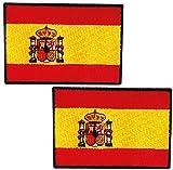 2 Banderas de ESPAÑA PARCHE BORDADO AUTOADHESIVO, parches termoadhesivos para todo tipo de prendas y artículos textiles, fácil de planchar y colocar, fabricado en España - pack 2 unidades
