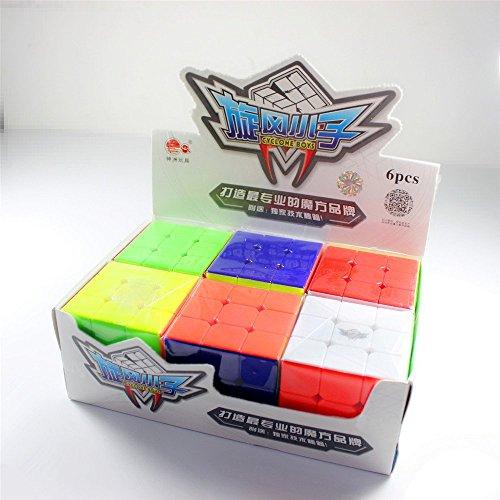 EasyGame-Cyclone Boys 6pcs Empaquetado 3X3 Magic Cube Puzzle Speedless Stickerless Giftbox Brain Trease Toys