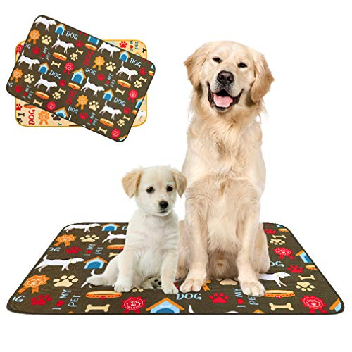 PUPTECK Washable Pee Pads for Dogs - 2 Pack Reusable Puppy Potty Training Mats, Anti-Slip Dog Whelphing Pads, Waterproof Pet Food Water Bowls Mats, 24