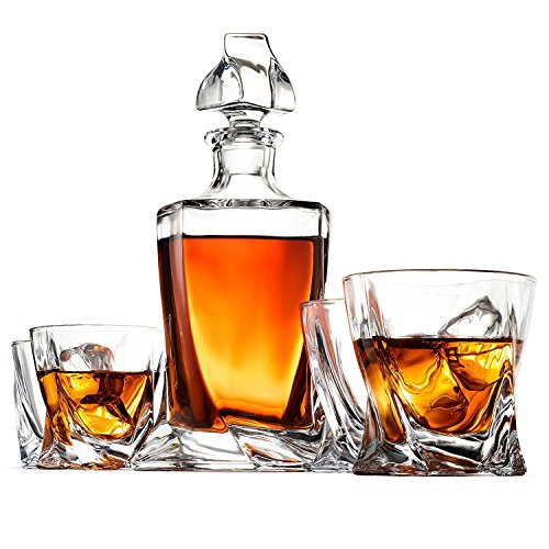 5-Piece European Style Whiskey Decanter and Glass Set - With Magnetic Gift Box - Exquisite Quadro Design Liquor Decanter & 4 Whiskey Glasses - Perfect Whiskey Decanter Set for Scotch Alcohol Bourbon