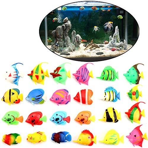 Xinlie Lebensechte Kunststoff Künstliche Bewegung Schwimmende Fische Schwimmende Kuenstlich Deko Fisch Kunststoff Goldfisch Ornament Dekoration Fuer Aquarium Fish Tank Zufällige Muster (24 Stück)