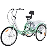 VANELL Adult Tricycle 7 Speed Three Wheel Trike Bike Cruiser Adult Trikes Low Step-Through W/Large Size Basket for Women Men Shopping Exercise Recreation (White&Aloe, 7 Speed - 24')