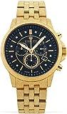 LOUIS XVI Aramis 1056 - Reloj de pulsera para hombre con correa de acero esmerilado y diamantes auténticos, cronógrafo, analógico, de cuarzo, acero inoxidable