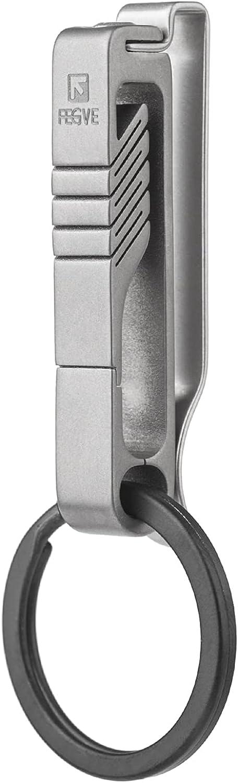 TISUR Belt Loop Keychain Clip, Titanium Key Holder with detachable black Ti key ring for duty belt, Lanyards, ID Badges Holder, Gifts for Men Women