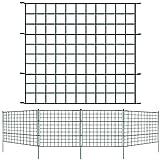 Lospitch Teichzaun Set, Gartenzaun Zaun Teich mit Zaunelemente und Befestigungsstäben, Metallzaun Grün, Freigehege, Gartenzaun, Tiergehege (10x Gerade)