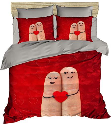 3D Finger Bettbezug Set   Double Duvet Cover Set  % 100 Baumwolle   200x220 Double   4er Set Bettwäscheset mit Bettbezug, Laken und Kissenbezug   4 in 1 with Duvet Cover, Sheet and Pillow Covers