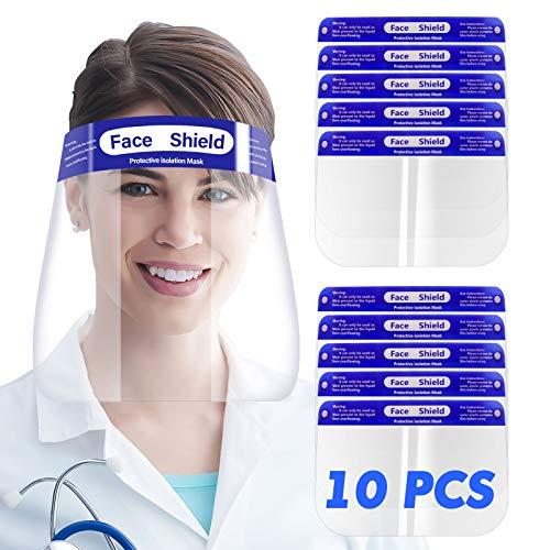 SGODDE 10 Pcs Pantalla Protección Facial Transparente, Protector Facial de Seguridad, Viseras de Seguridad Facial Reutilizable, Protector Facial Ajustable Ligera Antivaho,Aantipolvo y Evitar la Saliva ⭐