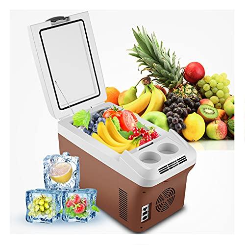 LEIKEI Refrigerador De Coche Refrigerador Eléctrico Caliente Y Frío, Refrigerador De Compresor Portátil, Mini Refrigerador con Congelador Silencioso para Acampar Adecuado para Viajes,Brown-8L
