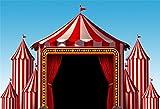 Cassisy 2,2x1,5m Vinilo Circo Telon de Fondo Rayas Blancas Rojas Carpas de Circo Cielo Azul Luces de Chispa Fondos para Fotografia Party Infantil Photo Studio Props Photo Booth