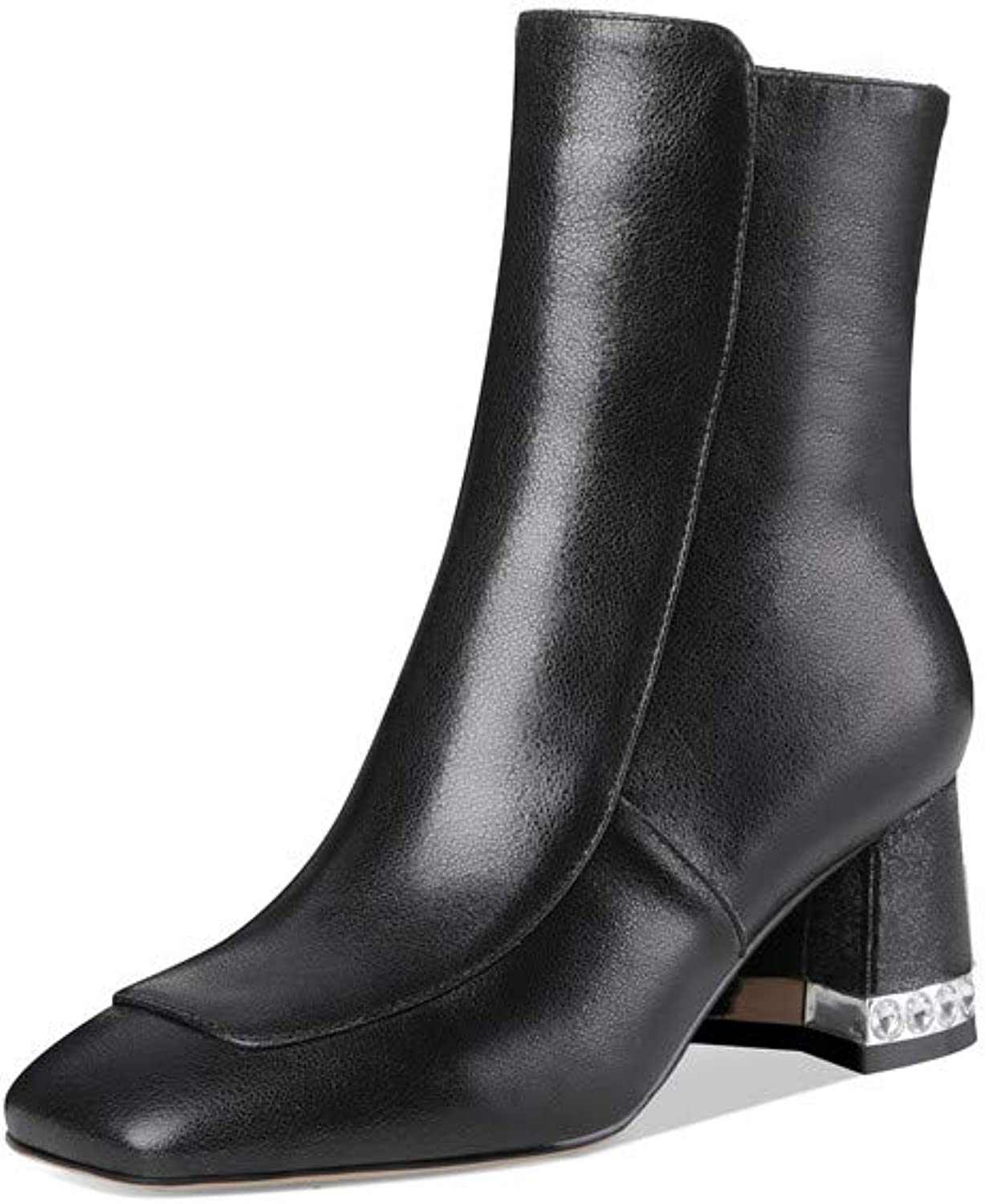 Nine Seven Genuine Leather Women's Square Toe Sexy Mid Chunky Cover Heel Concise Glossy Handmade Ankle Boot with Pearl