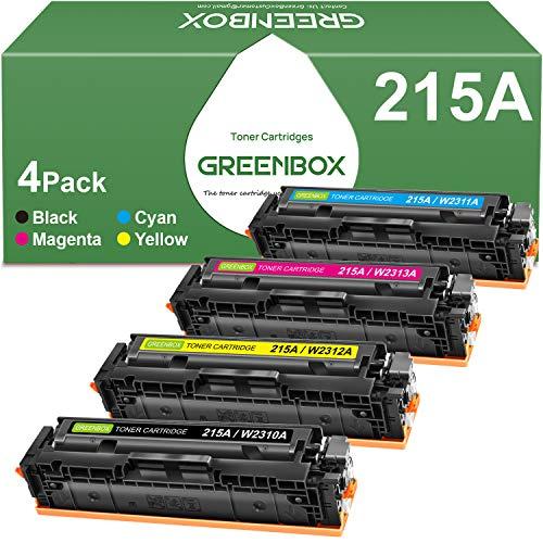 GREENBOX Compatible Toner Cartridge Replacement for HP 215A W2310A W2311A W2312A W2313A for HP Color Laserjet Pro MFP M182nw M183fw M155 M182 M183 Printer (1 Black 1 Cyan 1 Magenta 1 Yellow)