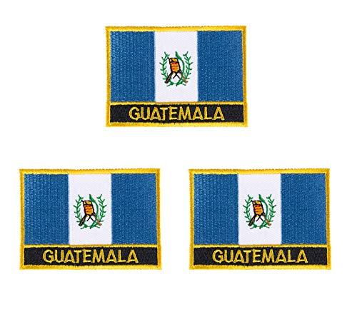 Aufnäher mit Guatemala-Flagge, bestickt, 3 Stück