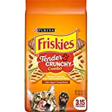 Friskies Dry Cat Food, Tenders and Crunchy Combo, Flavors of Chicken, Beef, Carrots and Green Beans, 3.15 Lb Bag