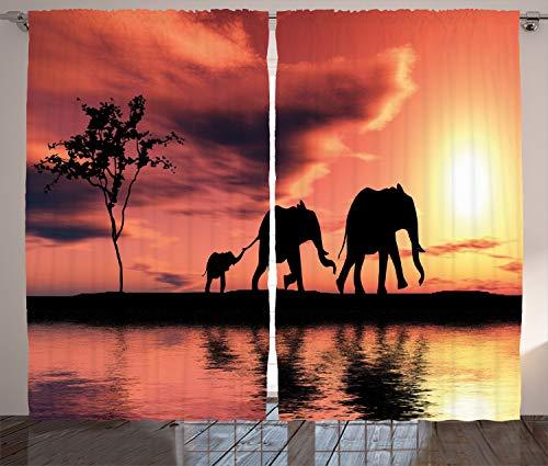 ABAKUHAUS Afrika Rustikaler Vorhang, Safari Wilde Tiere, Wohnzimmer Universalband Gardinen mit Schlaufen und Haken, 280 x 245 cm, Dunkles Gelbes Siegel Braun