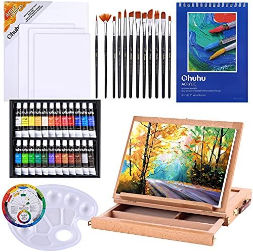 Set de pinturas acrílicas Ohuhu 44pcs, con caballete de mesa de madera, pinceles de pintura artística, tubos de pintura acrílica y almohadillas de pintura acrílica