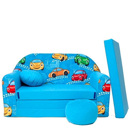 millybo Kindersofa Couch Kindercouch Spielsofa 3in1 Kinder Sofa Minisofa blau (MI-B11)