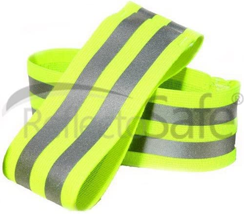 ReflectoSafe Safety High Night Visibility Arm Bands/Ankle Bands for Cycling, Walking, Jogging, Outdoor Activities - G...