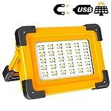 Projecteur LED Rechargeable Projecteur Chantier 60W T-SUNRISE 3 Modes Luminosité Lamp de Travail avec Batterie 6600mAh pour Camping, Bricolage