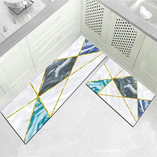 HLXX Alfombra Larga para Cocina Alfombra de baño Alfombra para el Suelo Entrada para el hogar Felpudo Tapete Dormitorio Absorbente Alfombrillas para el Suelo A17 40x60 + 40x120cm