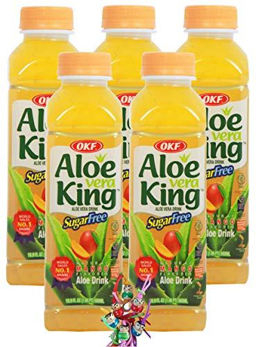 yoaxia ® - 5er Pack - [ 5x 500ml ] OKF SUGAR FREE Aloe Vera King Getränk MANGO Geschmack / Aloe Vera Drink + ein kleines Glückspüppchen - Holzpüppchen
