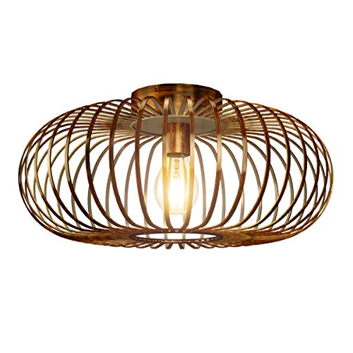 Tangkula Metal Flush Mount Ceiling Light, Antique Brass Metal Ceiling Pendant Light with Strong Arc Iron Lamp-shade, Suitable for Living Room, Kitchen & Dining Hall