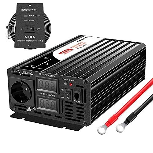 CNSWIPOWER 1500W (Picco 3000W) Inverter di Potenza a Onda sinusoidale Pura DC 12V a AC 230V 50Hz convertitore Solare per Uso Domestico Auto (DC12V (Gamma 10V-15V) 1500W)