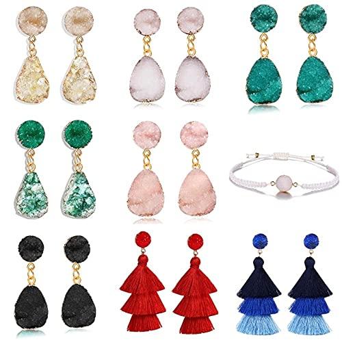 Pendientes Verdes Bohemios Para Mujer, Mezcla De Colores, Gran Candelabro De Piedra De Resina, Pendiente De Gota, Joyería Vintage Para Mujer