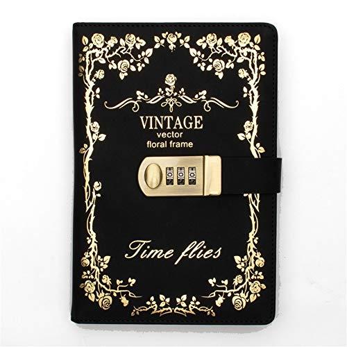 Ogrodowy kwiat czarny złoty retro pamiętnik z zamkiem hasłem notatnik skórzany zamek pamiętnik 2019 2020 szkolny notatnik biurowy dziennik artykuły papiernicze