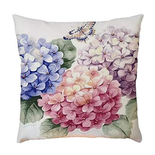 EstherBur87 La Hortensia Azul y roja florece la Cobertura del cojín de Tiro del Amortiguador de Lino del Cuadrado de Estilo del año del país francés de la Mariposa Francesa