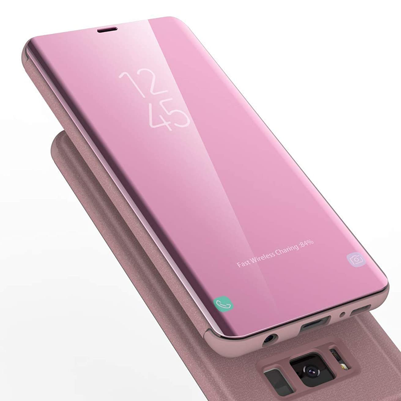Samsung S8 Case, AURSEN Mirror View Flip Cover, PU Leather Magnetic Protective Cover with Kickstand Phone Case for Samsung Galaxy S8 - Rose Gold