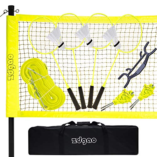 Badminton Set - Portable Badminton Net w/Badminton Rackets (4-Players) + Aluminum Poles+ 3 Birdies + Carry Bag, Complete Badminton Sets for Backyard, Indoor and Outdoor