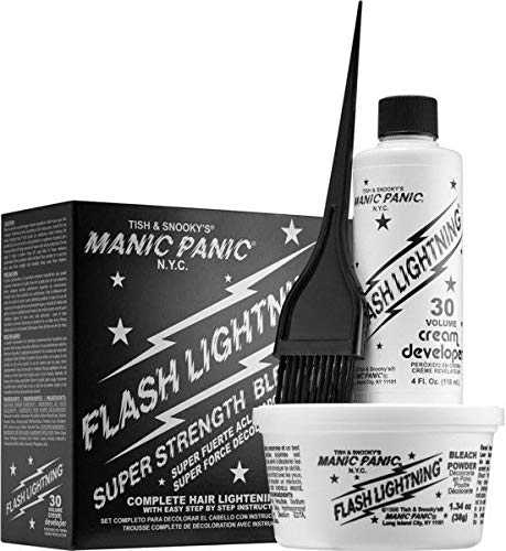 Best home highlighting kit - Manic Panic Flash Lightning Hair Bleach Kit - 30 Volume Cream Developer - Hair Lightener Kit for Light, Medium Or Dark Brown & Black Hair Color - Hair Bleach Powder Lifts Up To 5 Levels of Lightening