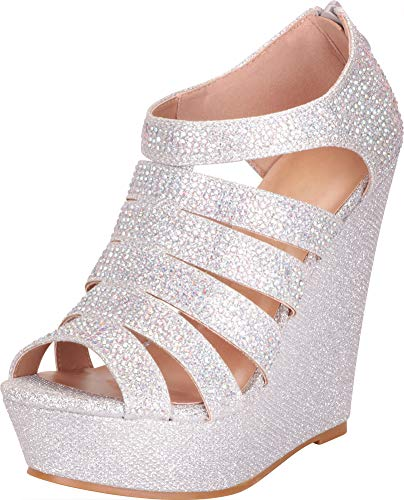 Cambridge Select Women's Open Toe Strappy Cutout Caged Crystal Rhinestone Chunky Platform Wedge Sandal,8 B(M) US,Silver Glitter