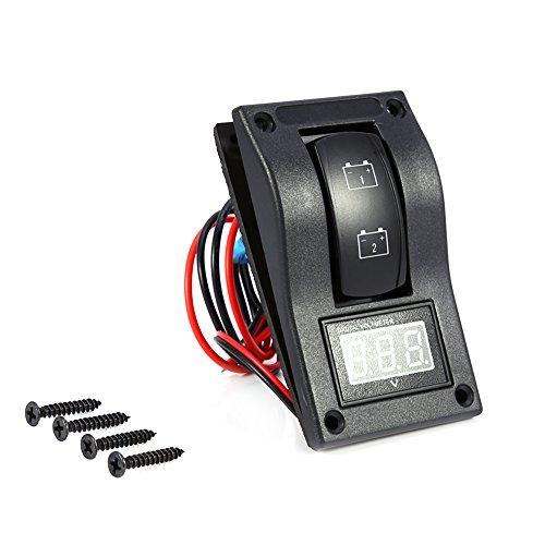 Qiilu 12V DC Marina Barco Voltímetro LED Dual Panel de prueba de la batería Interruptor basculante ON-OFF-ON