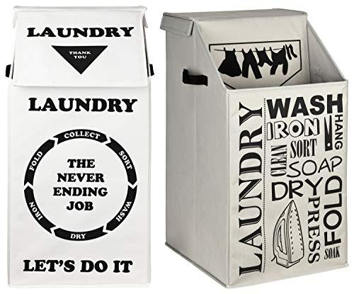 TOPP4u 2X Faltbarer Wäschekorb mit Deckel - in grau + weiß - 60 Ltr groß - 30 x 35 x 60 cm - mit tollem Laundry Design, kompakter Wäschesammler, große Wäschetonne