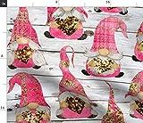 Spoonflower Stoff – Valentine Plaid Zwerge rosa Herz Liebe