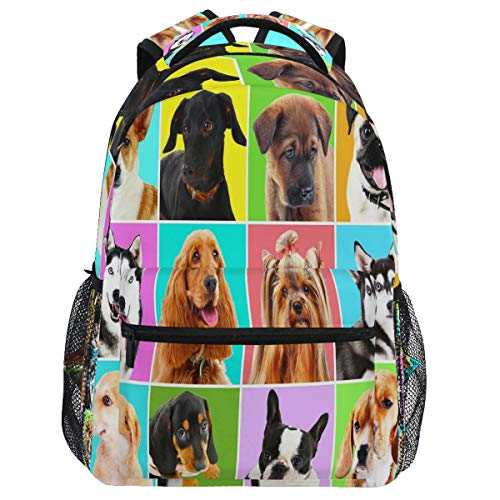 Oarencol Mochila para cachorros con diseño de animales coloridos a cuadros mochila de viaje senderismo camping escuela portátil