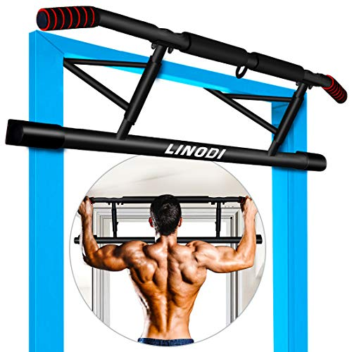 LINODI Pull Up Bar, Multi-Gym Pull Up Bar for Doorway with Angled Grip, Dip Bar Chin Up Bar with Bonus Suspension Straps, No Installation Needed (Fits Almost All Doors)